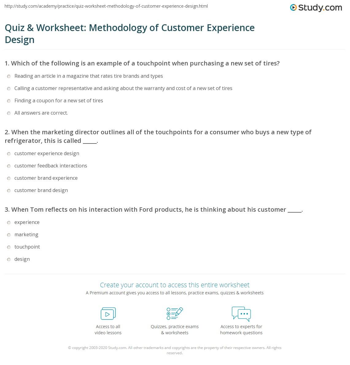 Quiz Amp Worksheet Methodology Of Customer Experience