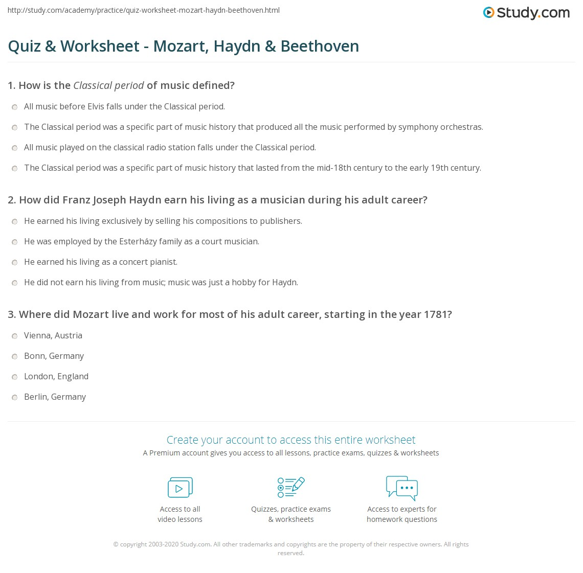 Mozart Worksheet