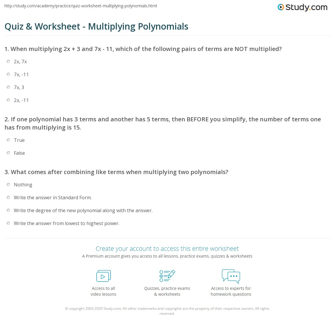 Multiplying Polynomials Worksheet Answer Key