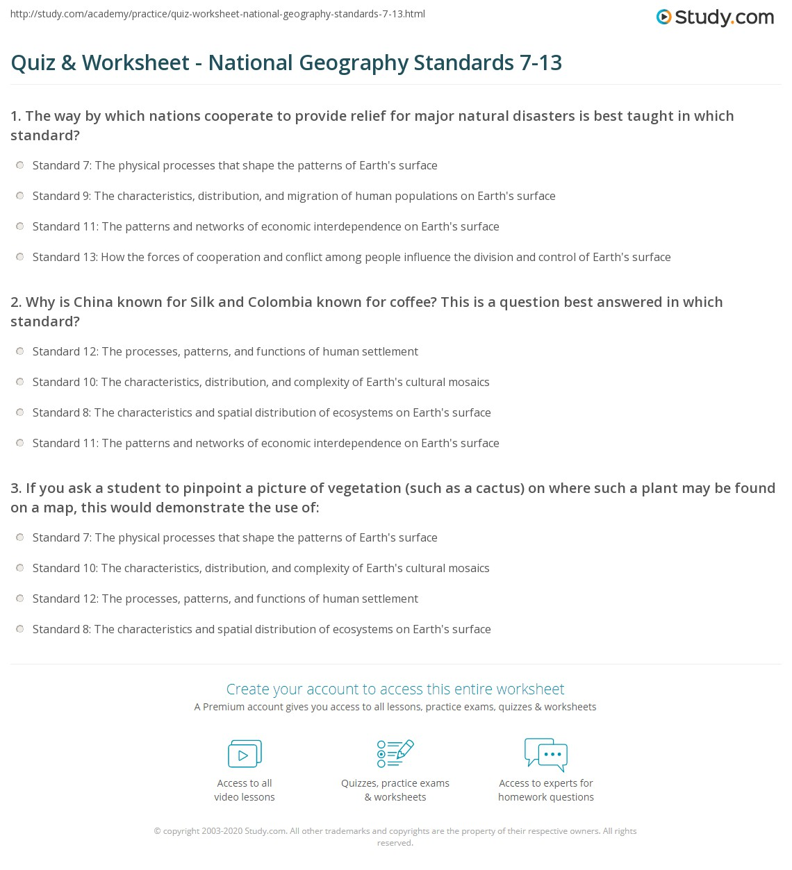 Geography Worksheet Year 6