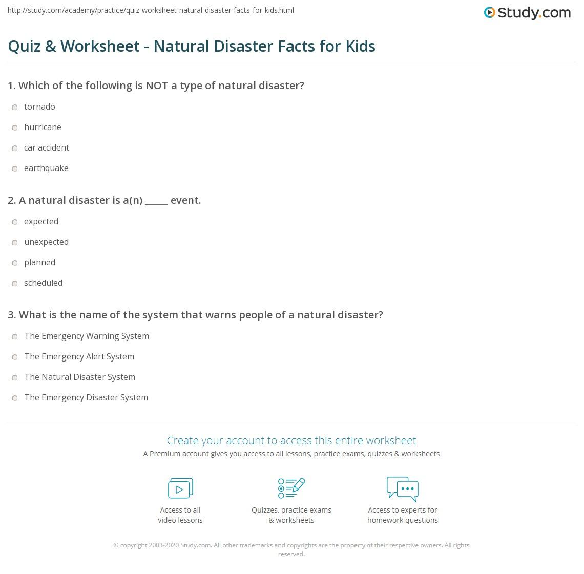 Natural Disaster Worksheets For Grade 4