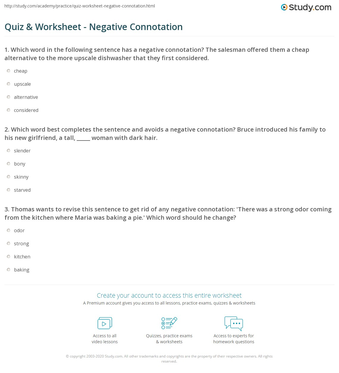 Denotation And Connotation Worksheet Answers