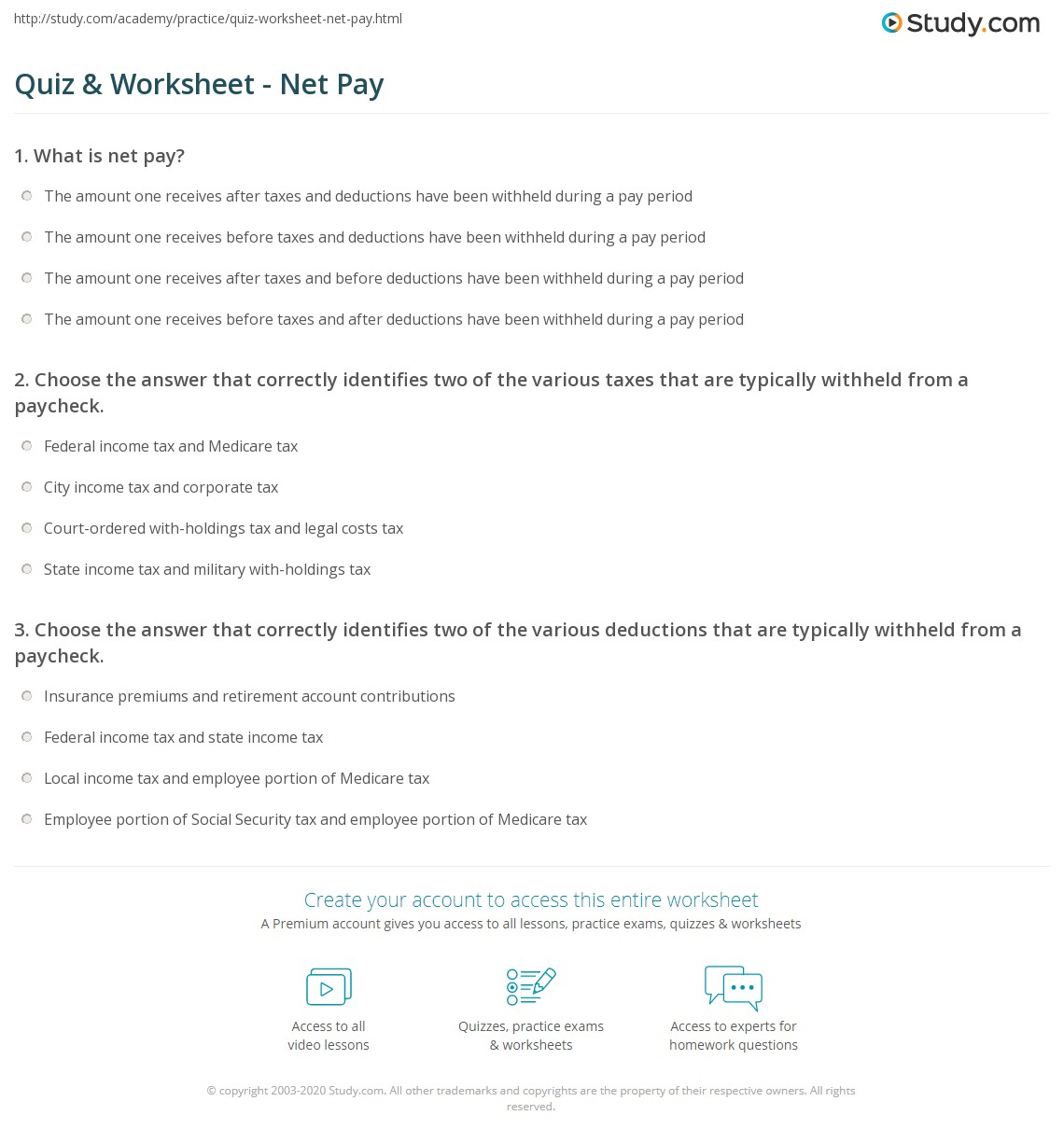 Calculating Your Paycheck Salary Worksheet 1 Answers