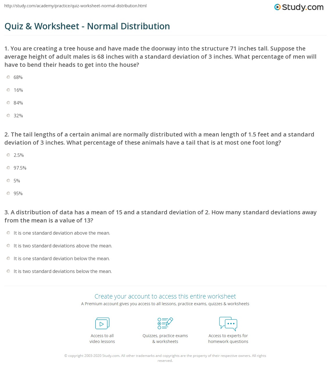 Worksheet Standard Normal Distribution