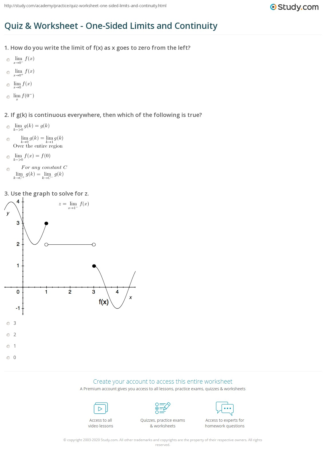 One Sided Limits Worksheet With Answers