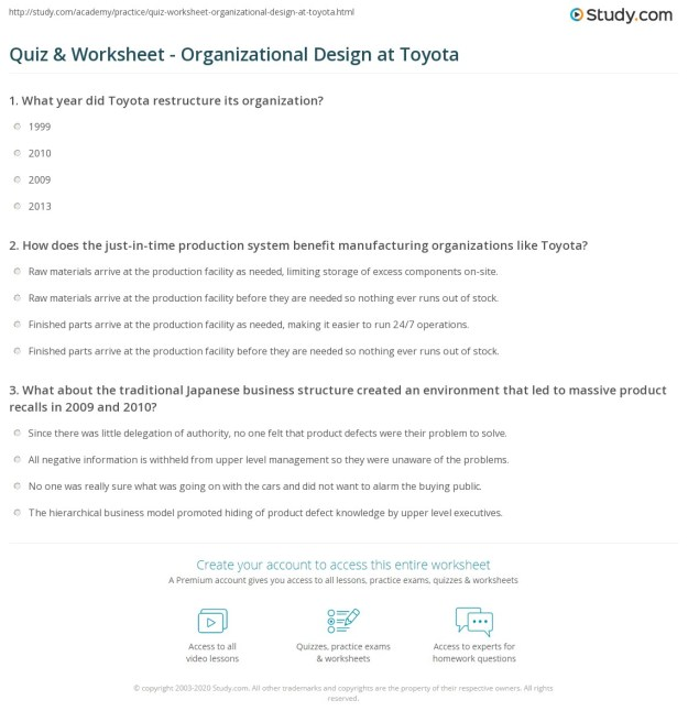 quiz & worksheet - organizational design at toyota   study