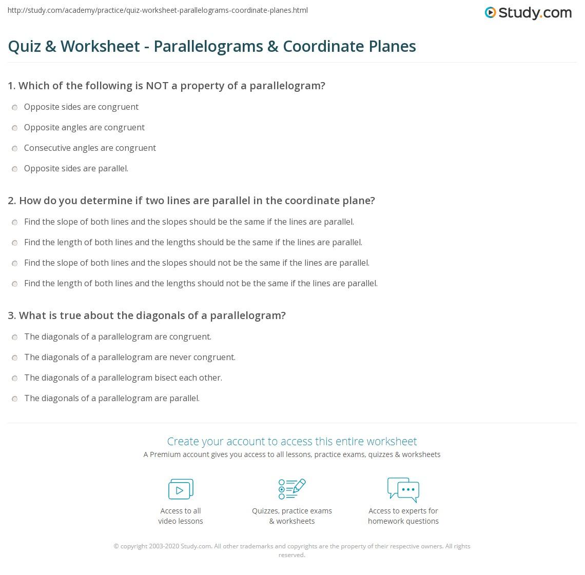 Quiz W Ksheet P R Llelogr Ms Co D Te Pl Nes Study