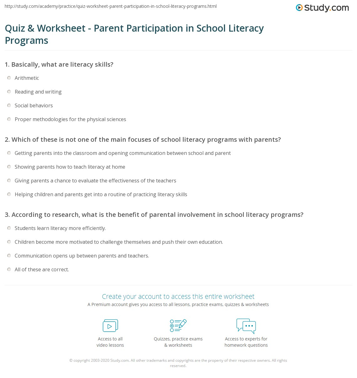 Literacy Programs Worksheet