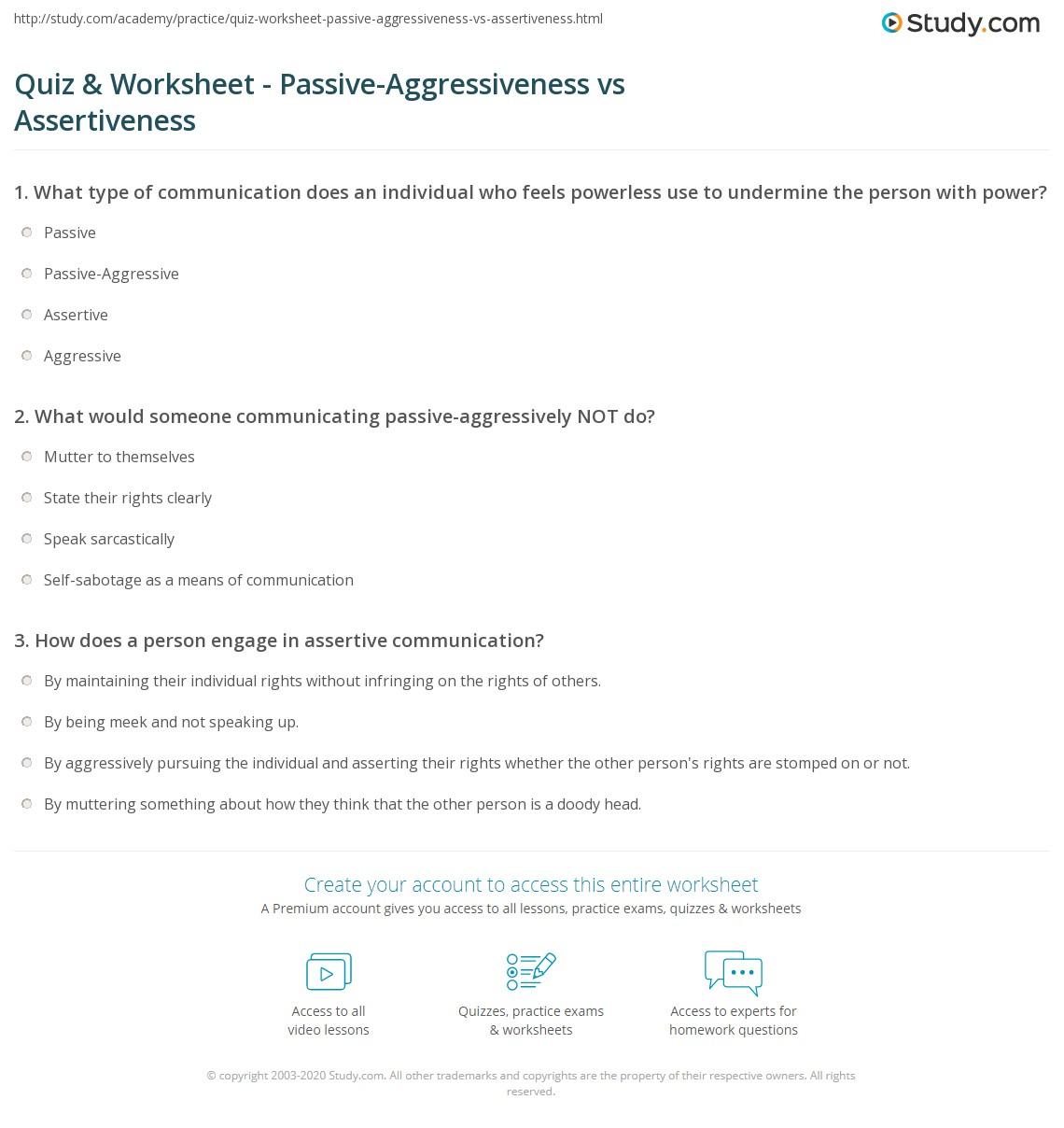 Passive Training Worksheet