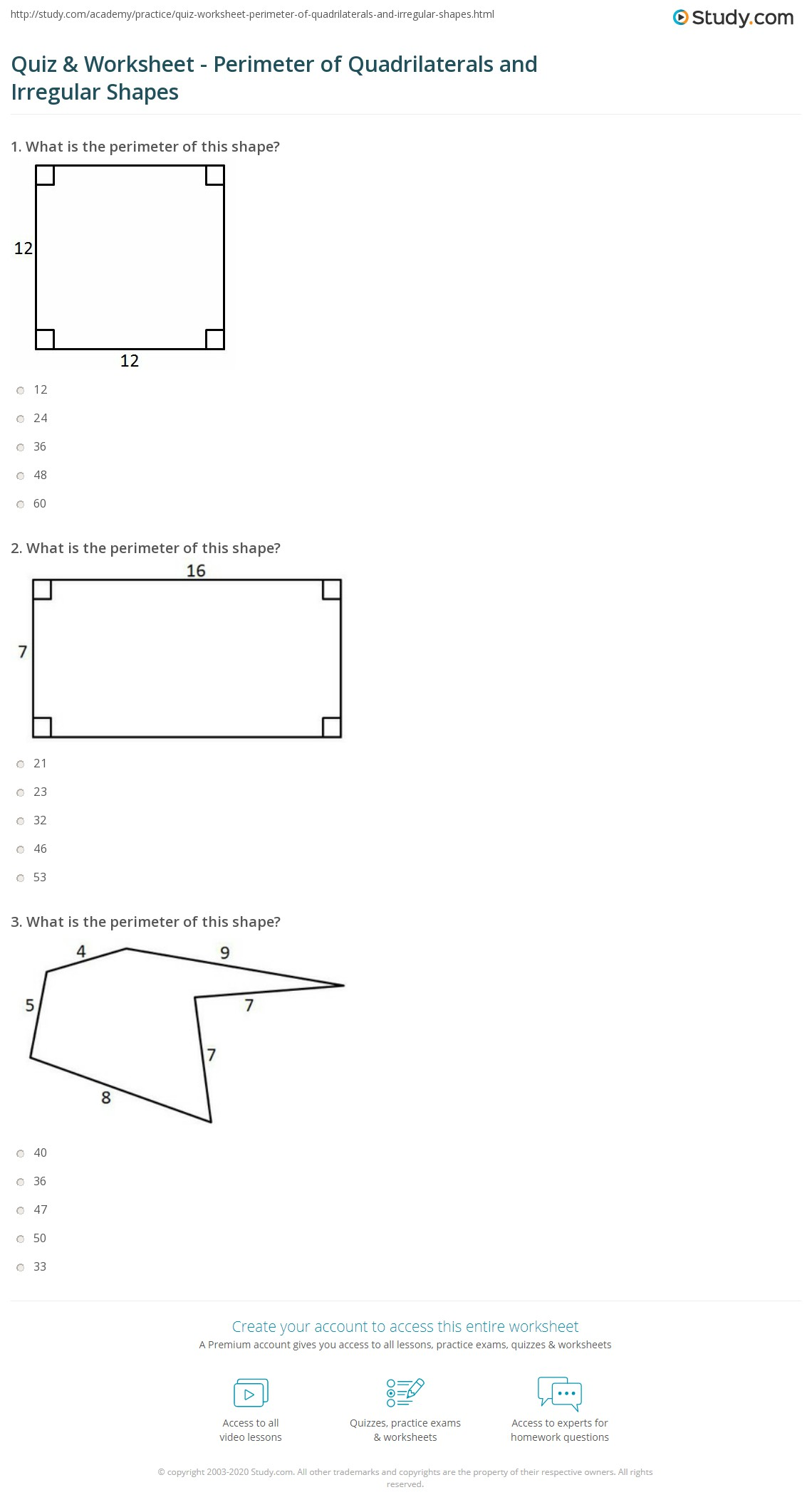 Worksheet Quadrilateral Shapes