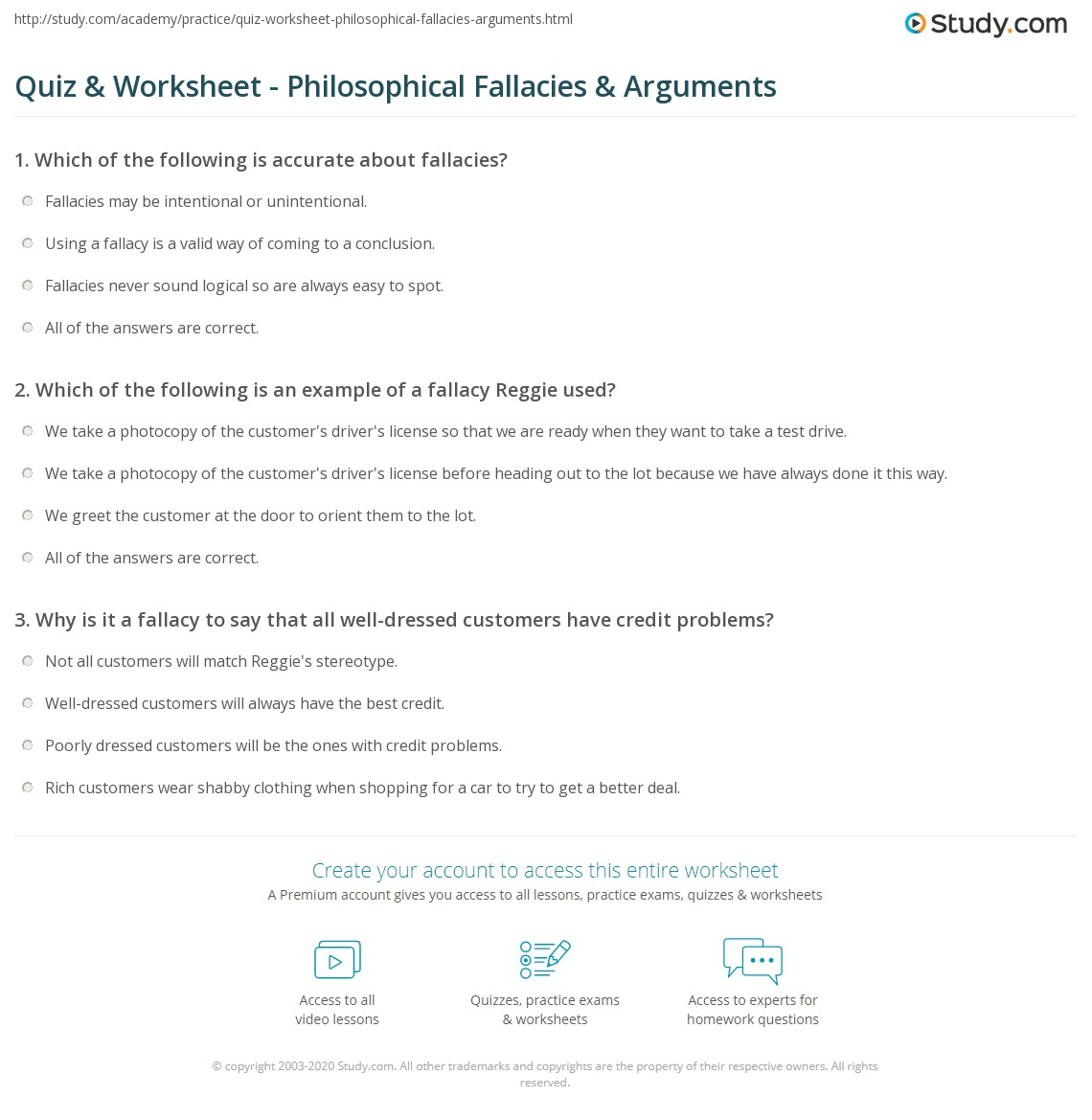 Critical Thinking Fallacies Quiz
