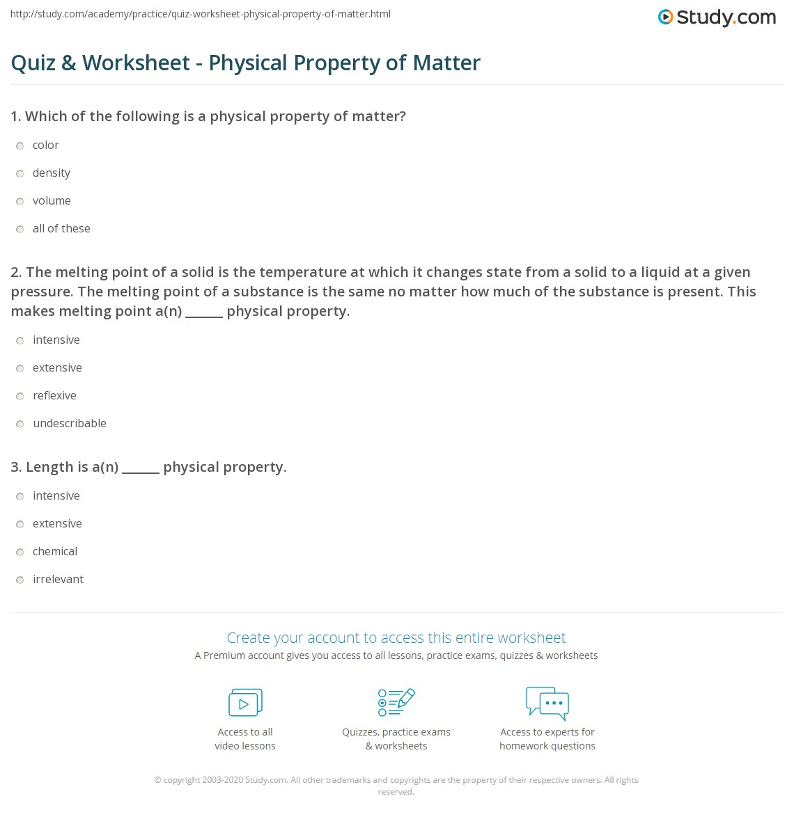 Classifying Matter Worksheet Physical And Chemical Changes