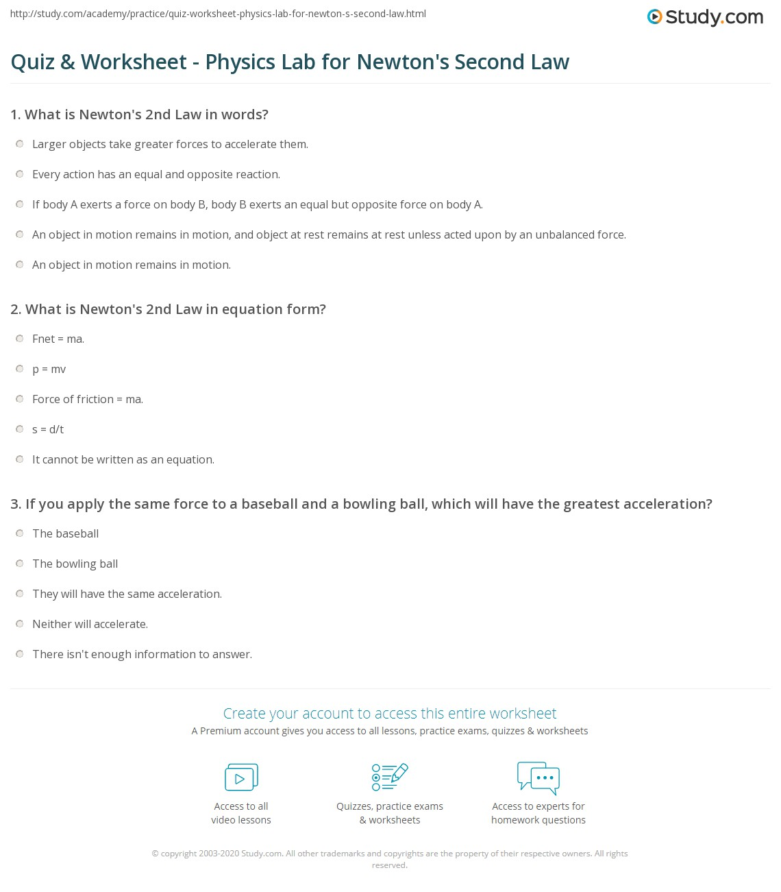 Newton S Second Law F Ma Worksheet
