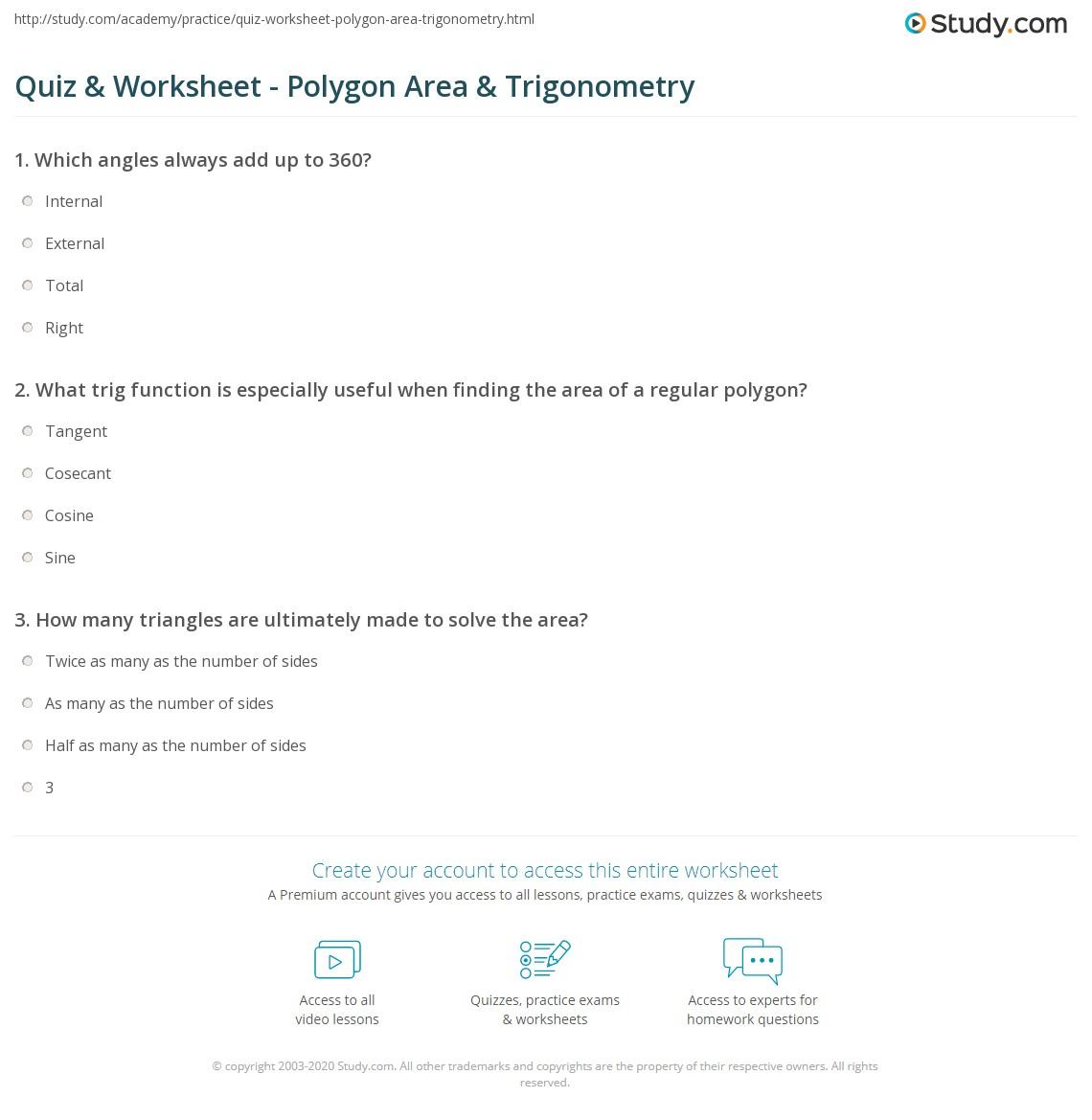 Quiz W Ksheet Polyg Re Trig Ometry Study