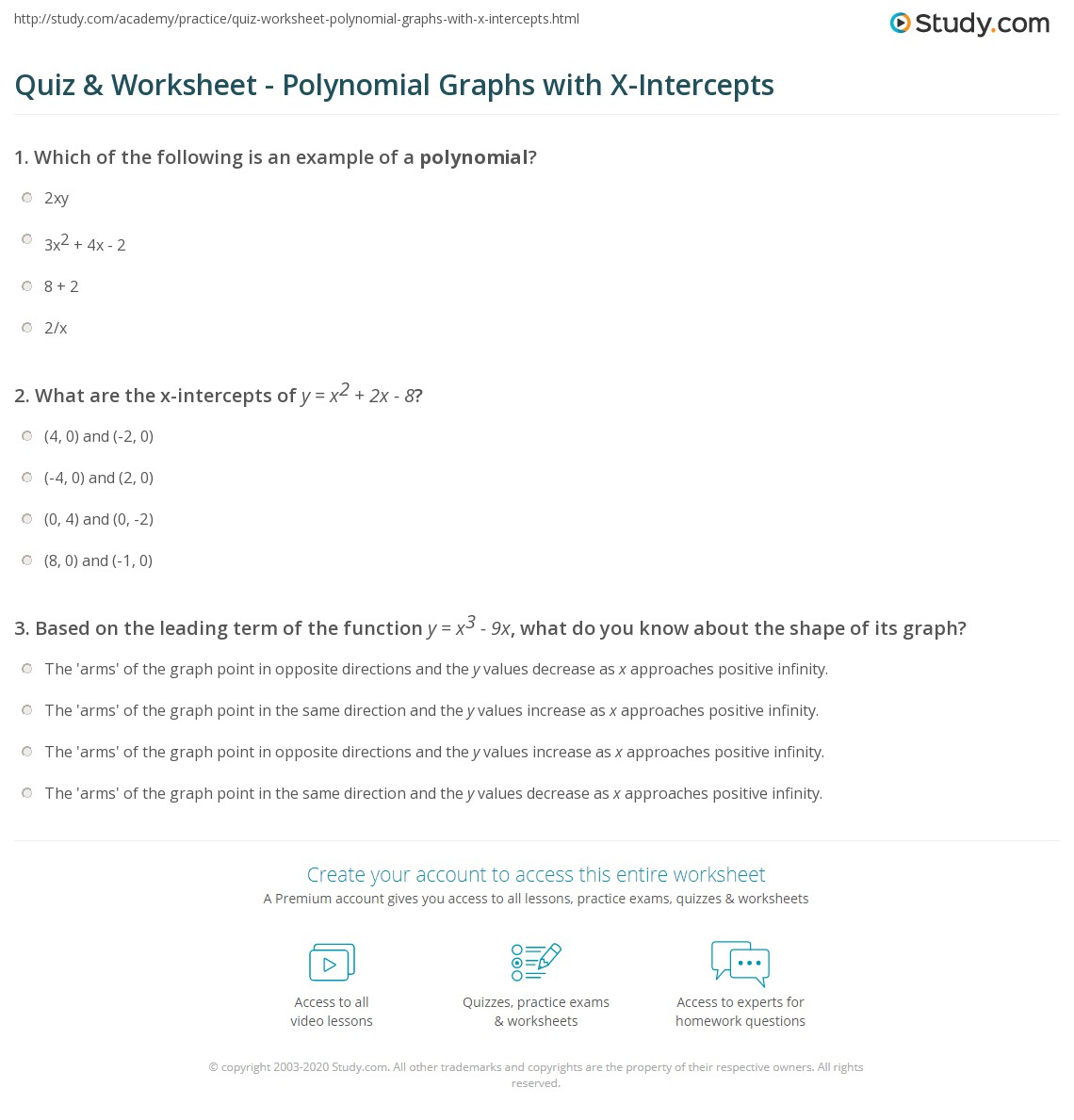 X And Y Intercepts Worksheet Day 1