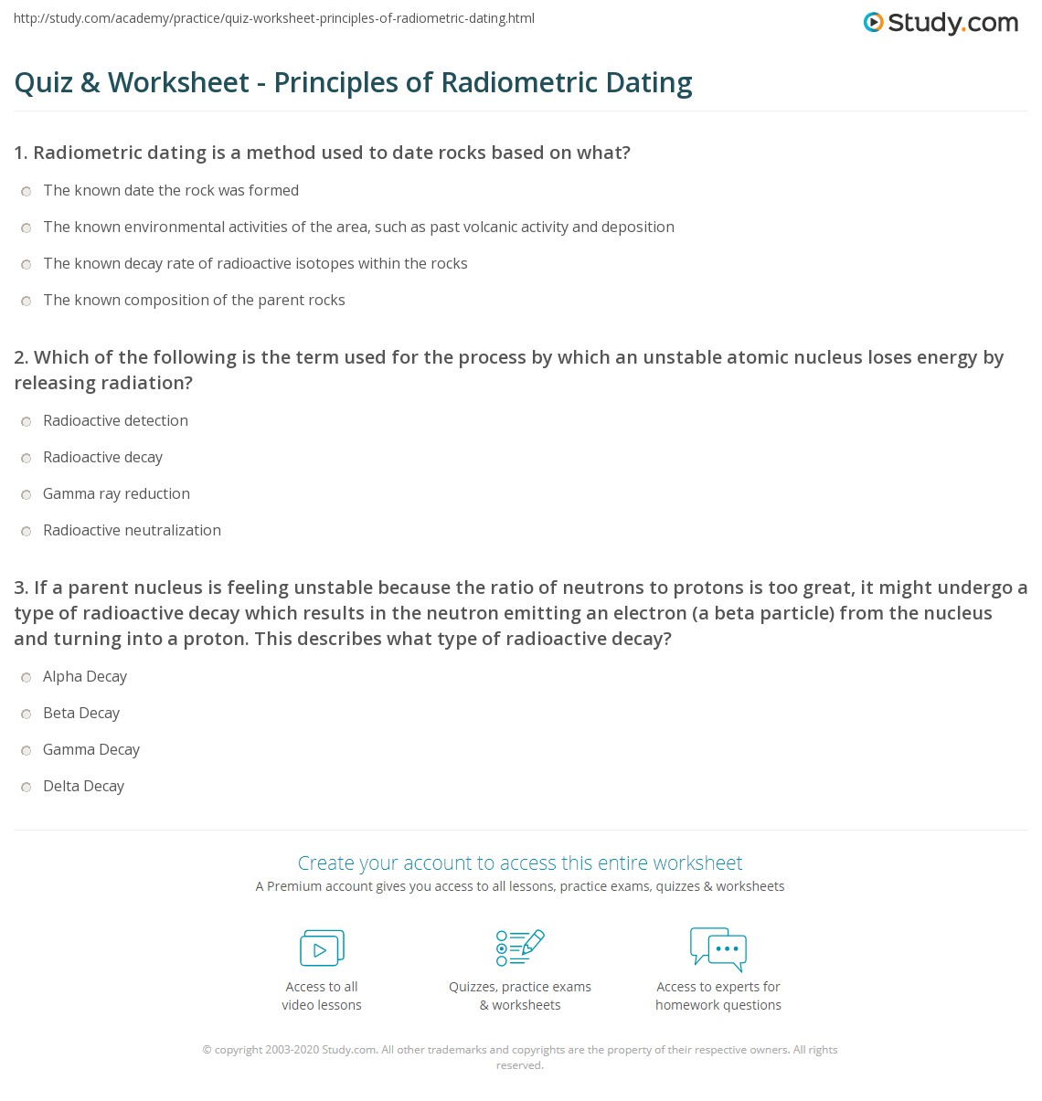 Radioactive Dating Worksheet Answer Key