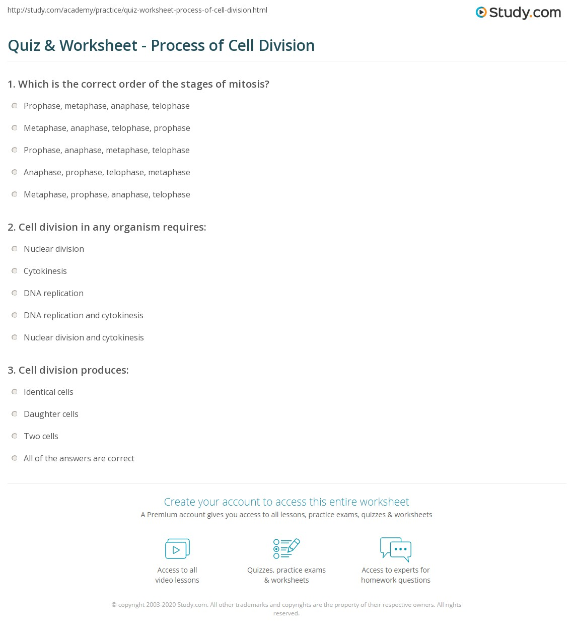 Worksheet Section 10 2 Cell Division Worksheet Answers