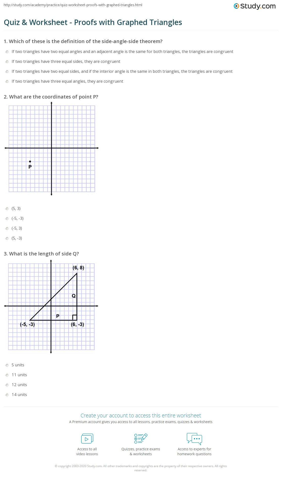 Quiz W Ksheet Proofs With Gr Phed Tri Ngles Study