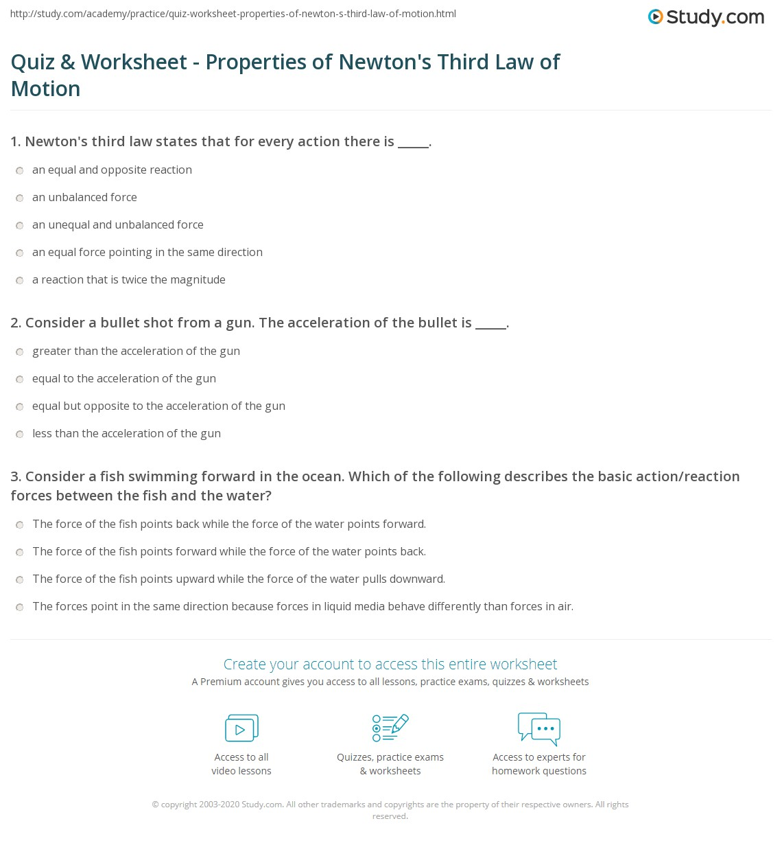 Newton S Second Law And Third Law Worksheet