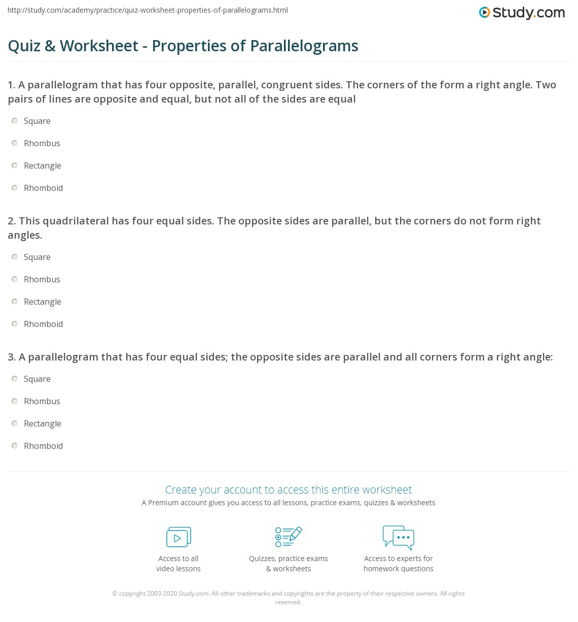 Worksheets Properties Of Parallelograms Worksheet Cheatslist Free Worksheets For Kids Amp Printable