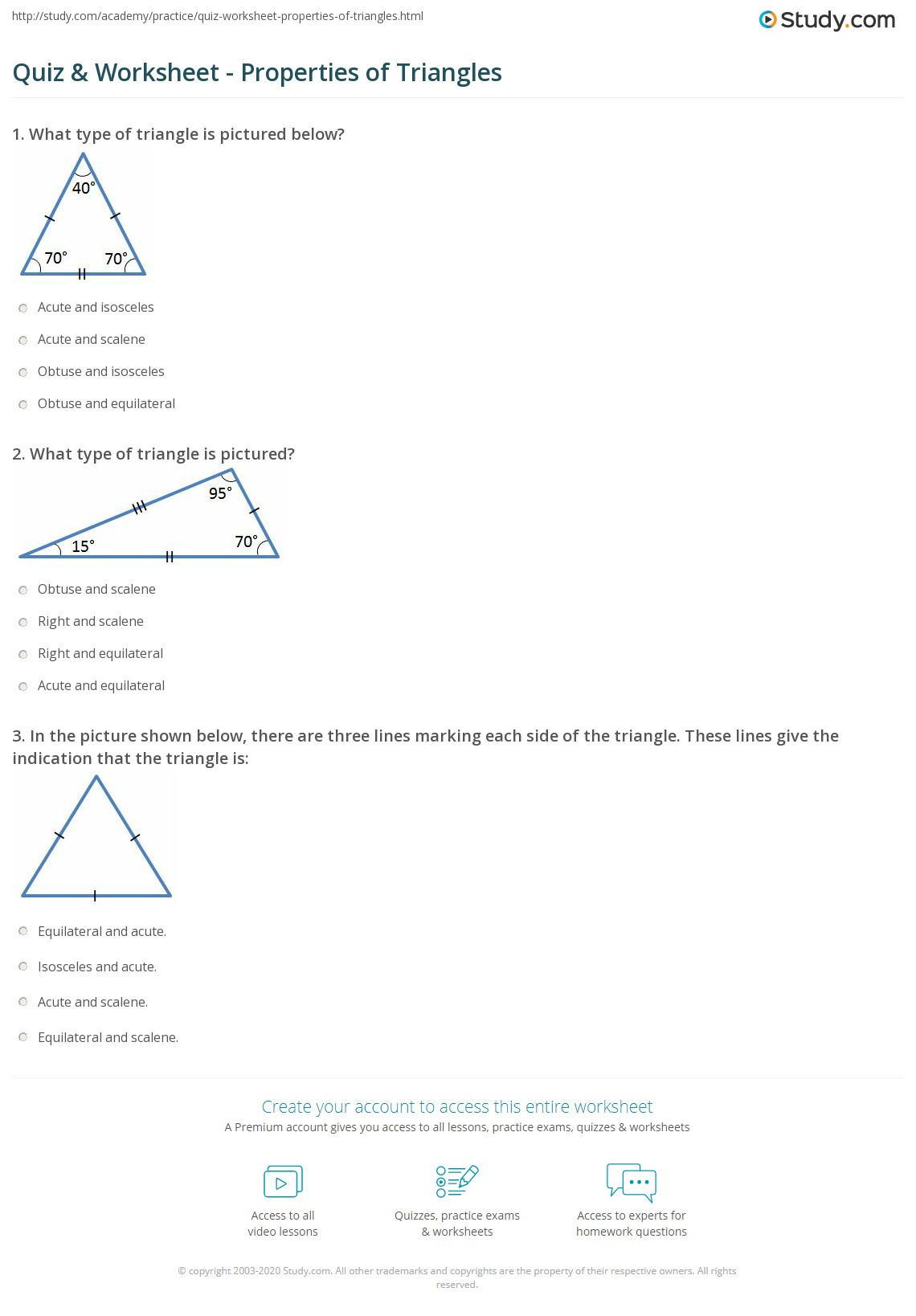 Properties Of Triangles Review Answers