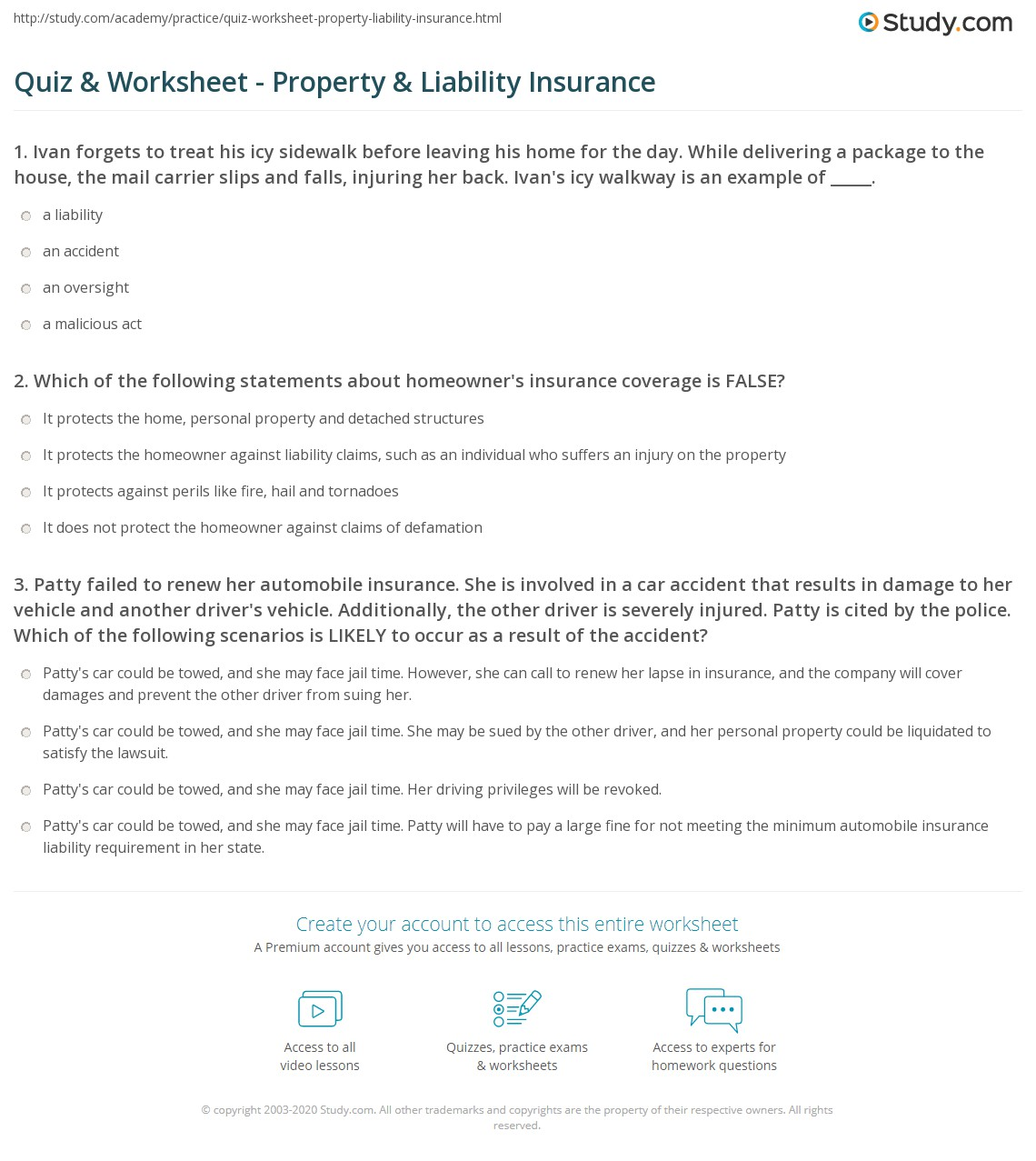 Money Instructor Insurance Worksheet Answers