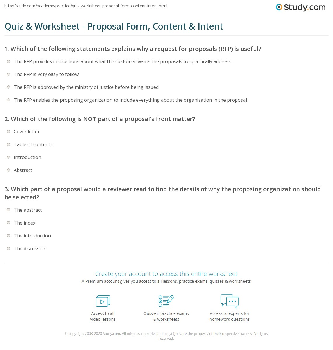 Quiz Amp Worksheet Proposal Form Content Amp Intent