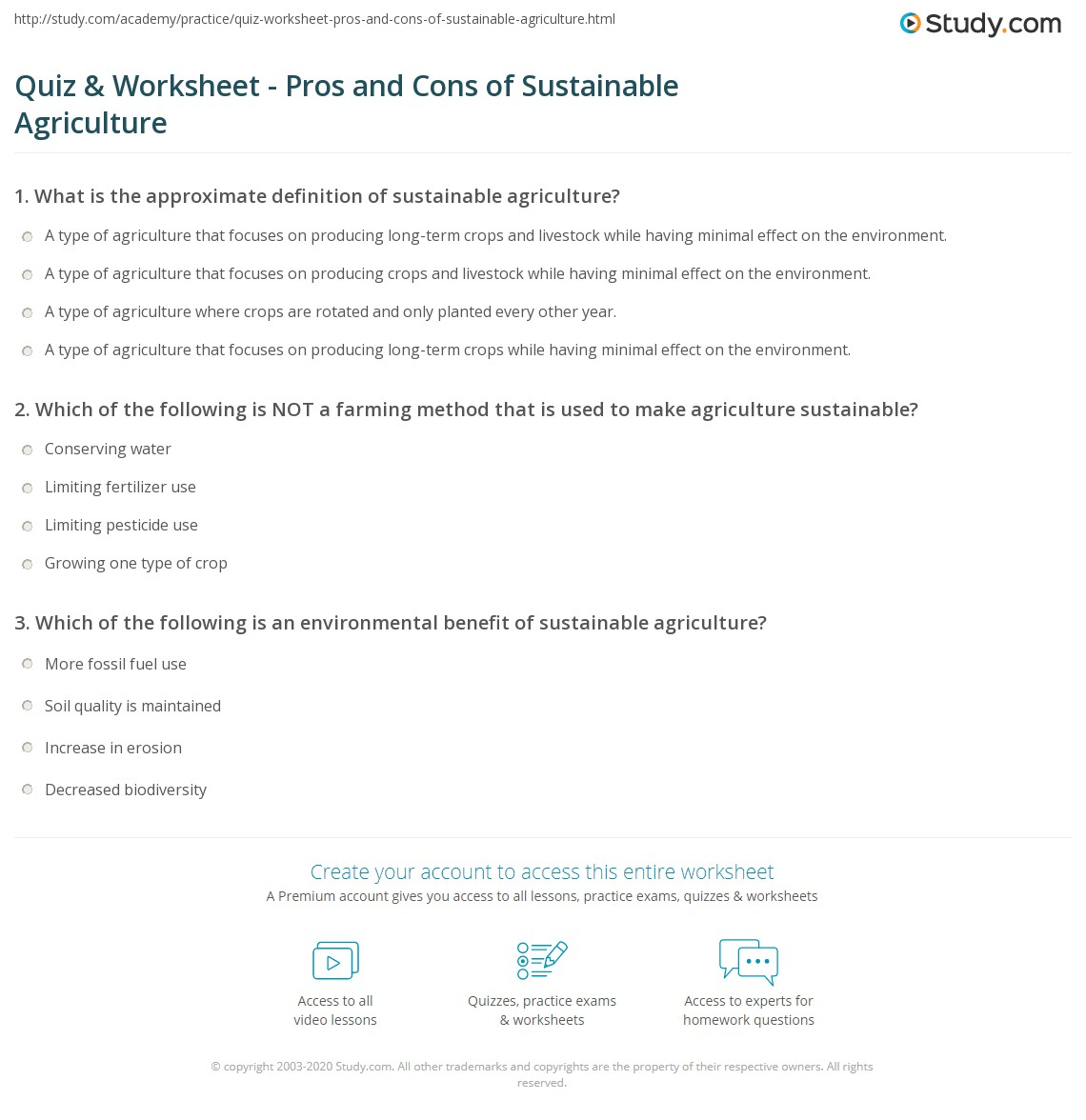 Sustainability Worksheet Answers