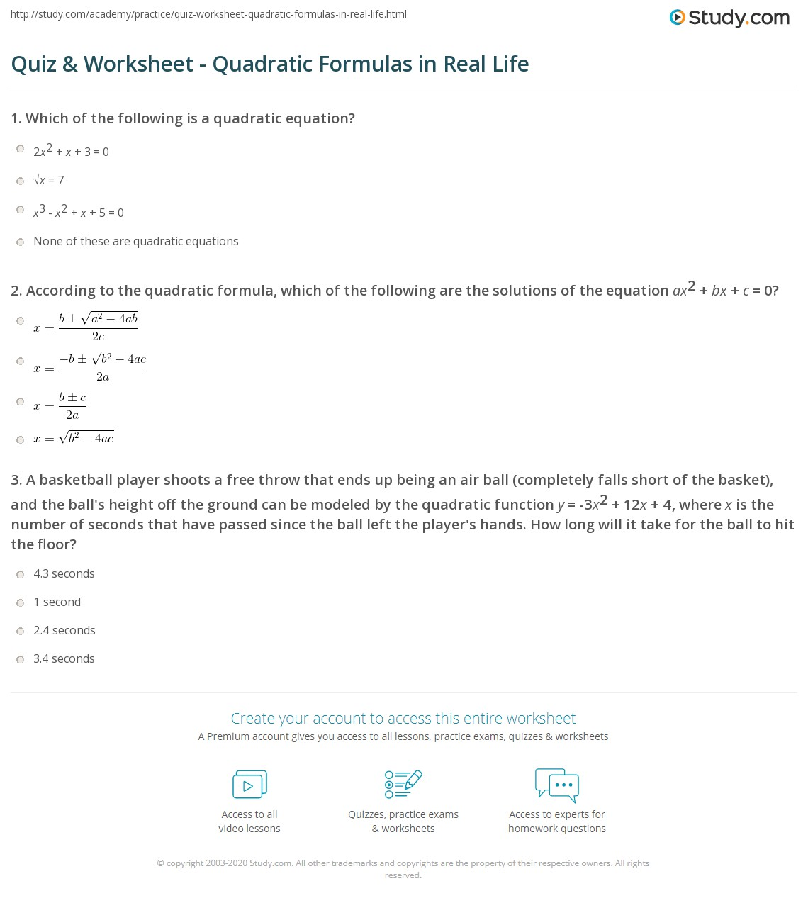 Creating Quadratic Equations Worksheet