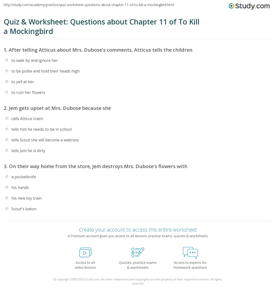 Quiz Amp Worksheet Questions About Chapter 11 Of To Kill A Mockingbird
