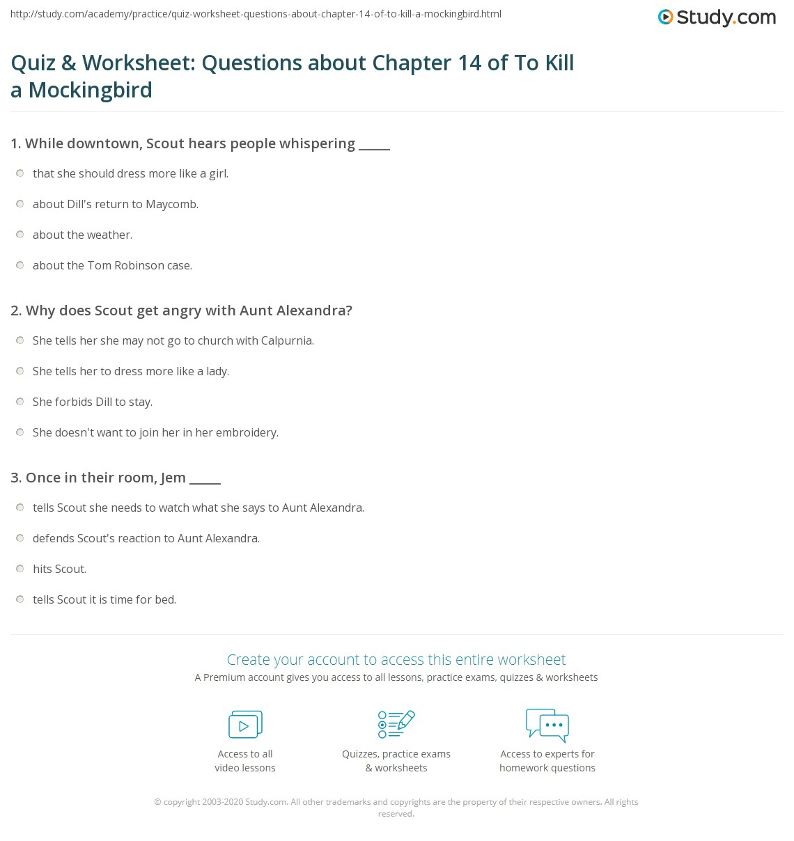 Quiz Amp Worksheet Questions About Chapter 14 Of To Kill A