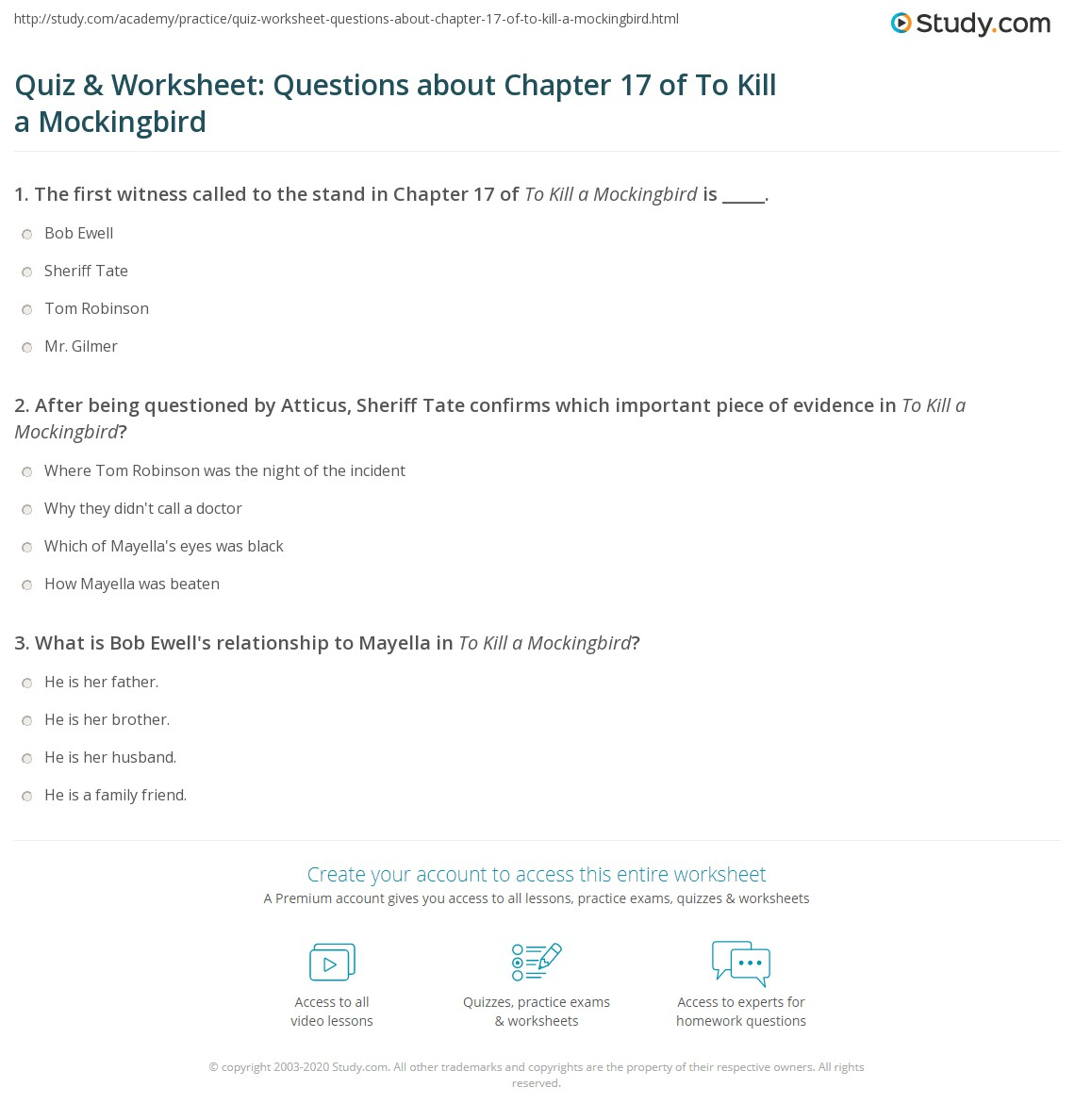 Quiz Amp Worksheet Questions About Chapter 17 Of To Kill A Mockingbird