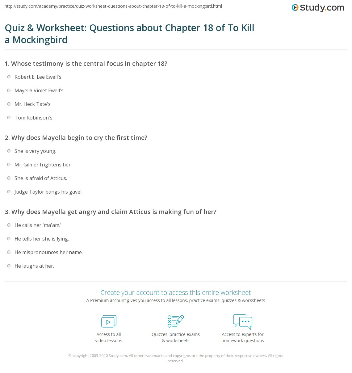 Quiz Amp Worksheet Questions About Chapter 18 Of To Kill A
