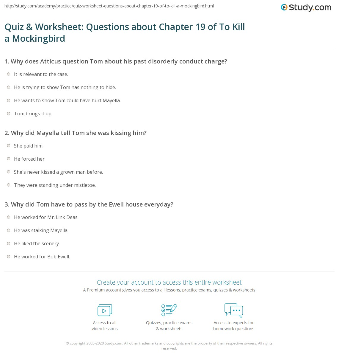 Quiz Amp Worksheet Questions About Chapter 19 Of To Kill A Mockingbird