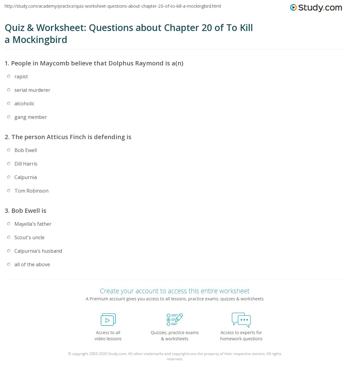 Quiz Amp Worksheet Questions About Chapter 20 Of To Kill A