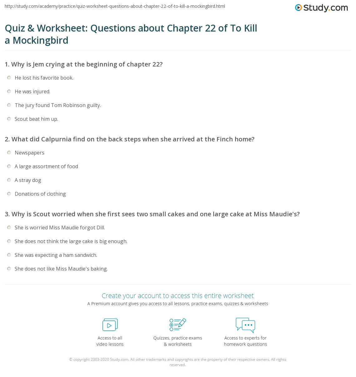 Quiz Amp Worksheet Questions About Chapter 22 Of To Kill A