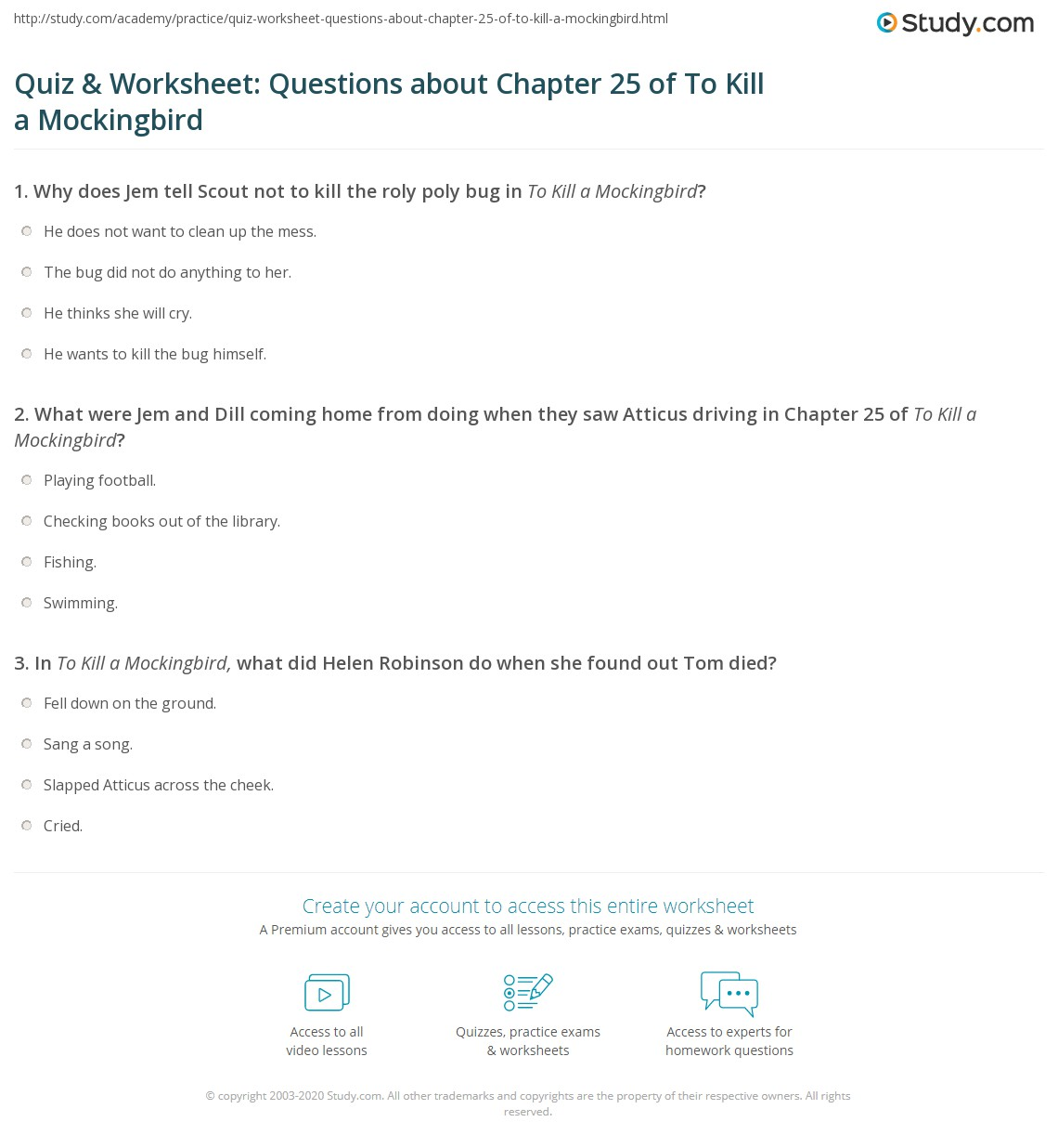 Quiz Amp Worksheet Questions About Chapter 25 Of To Kill A