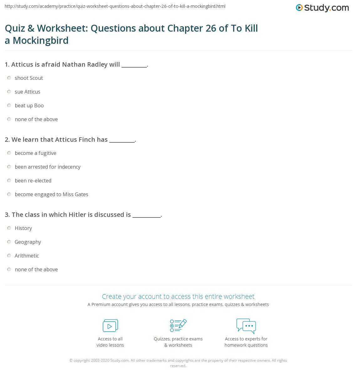 Quiz Amp Worksheet Questions About Chapter 26 Of To Kill A Mockingbird