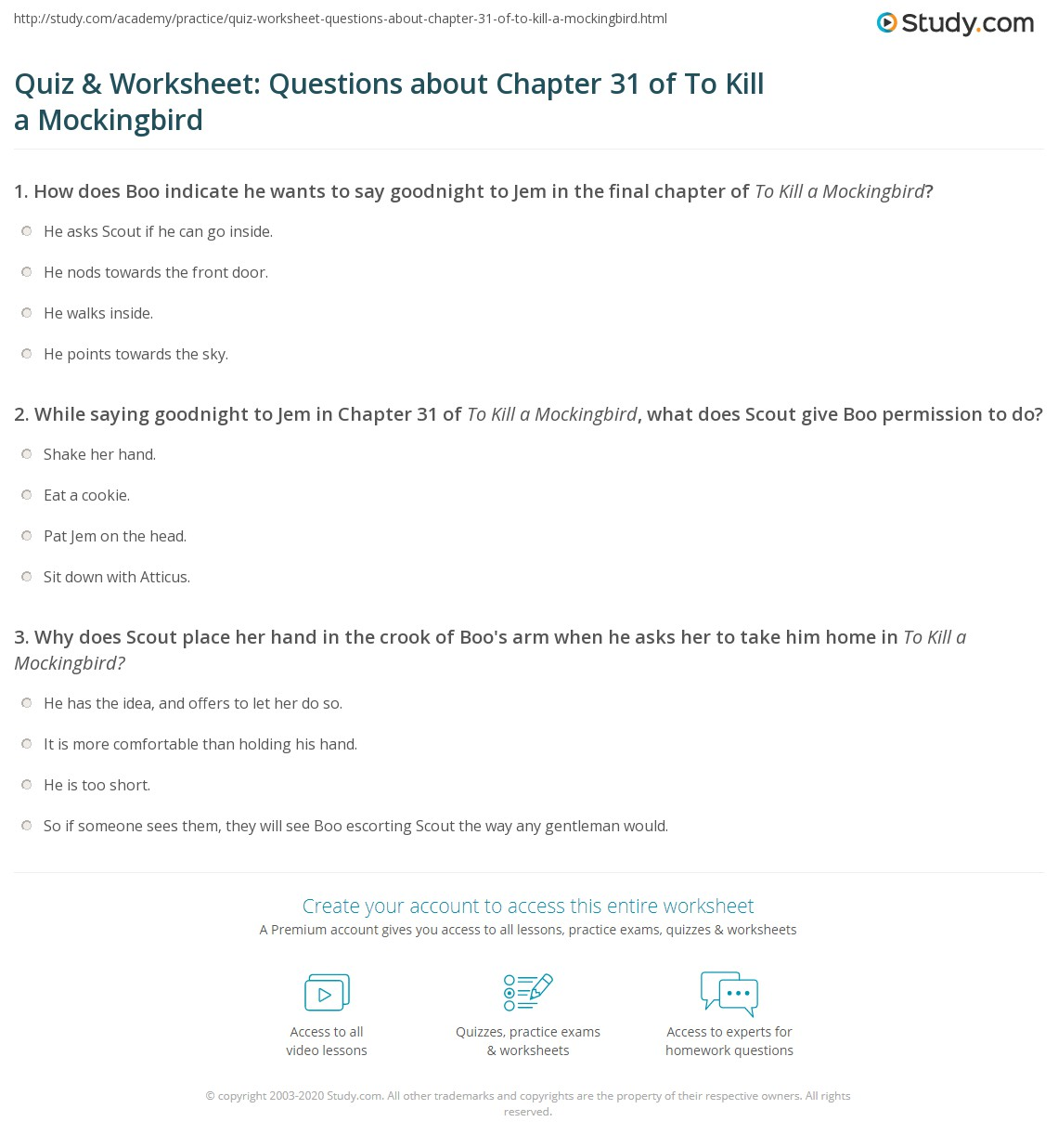 Quiz Amp Worksheet Questions About Chapter 31 Of To Kill A