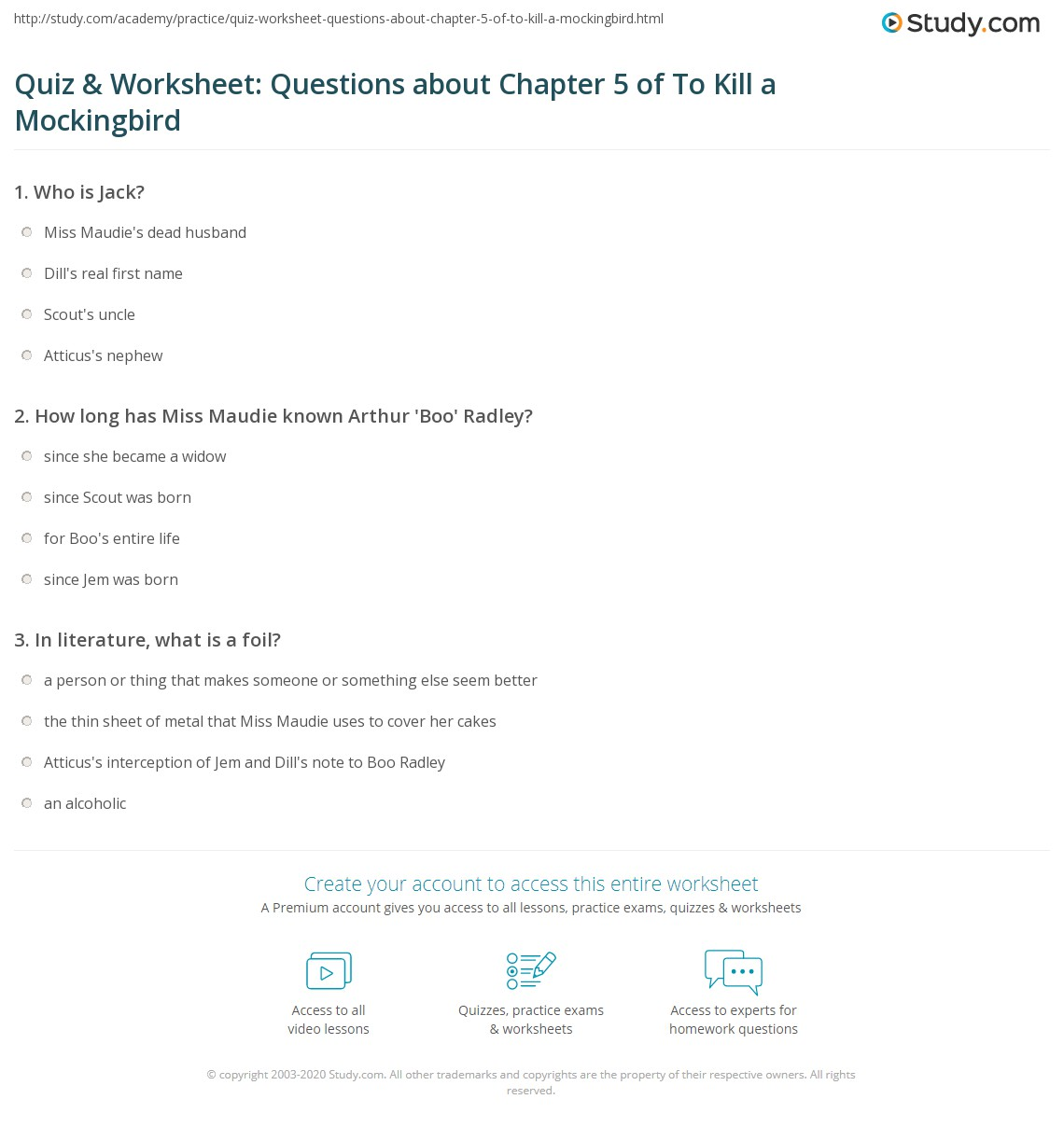 Quiz Amp Worksheet Questions About Chapter 5 Of To Kill A