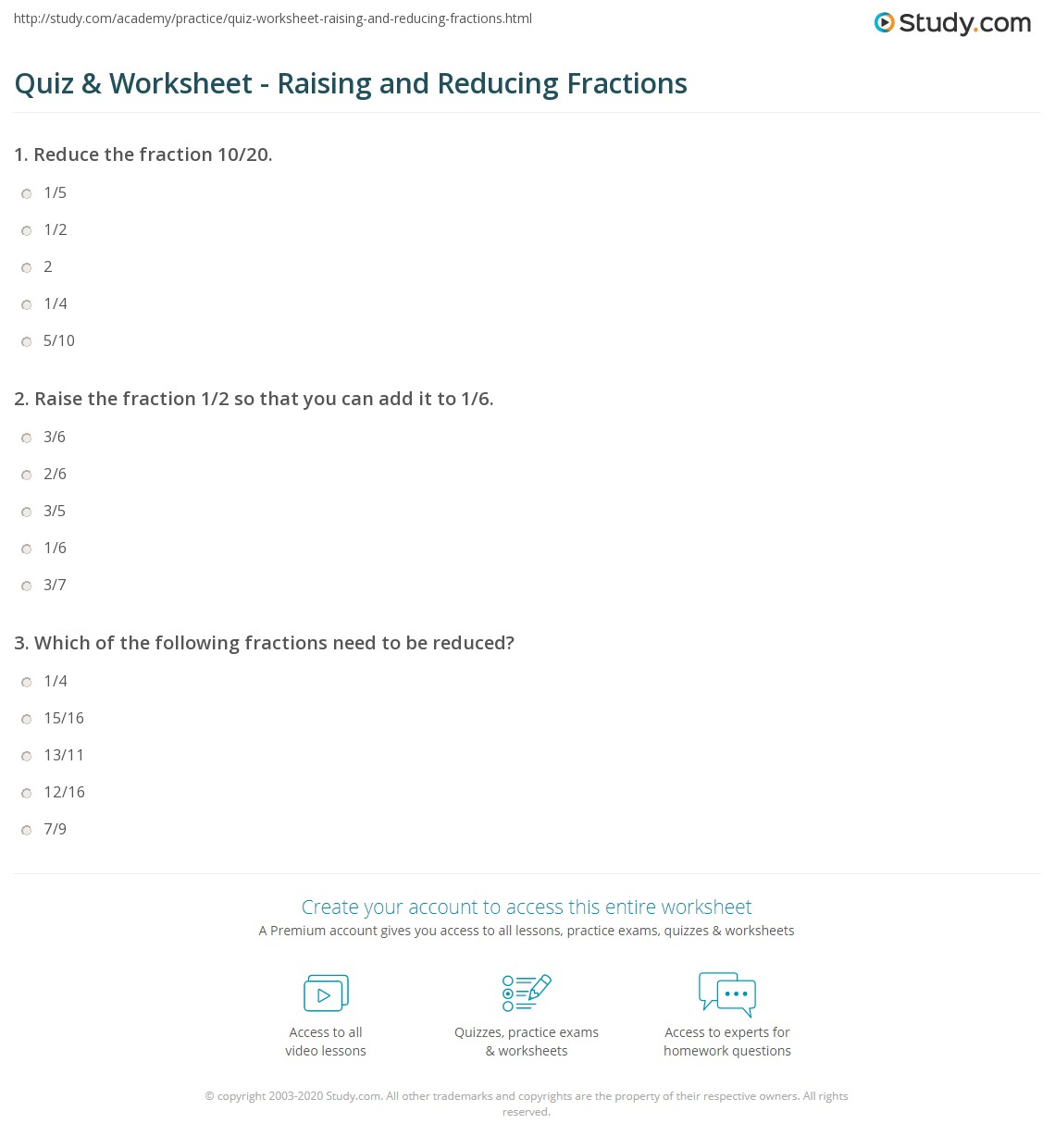 Reducing Fractions Worksheets