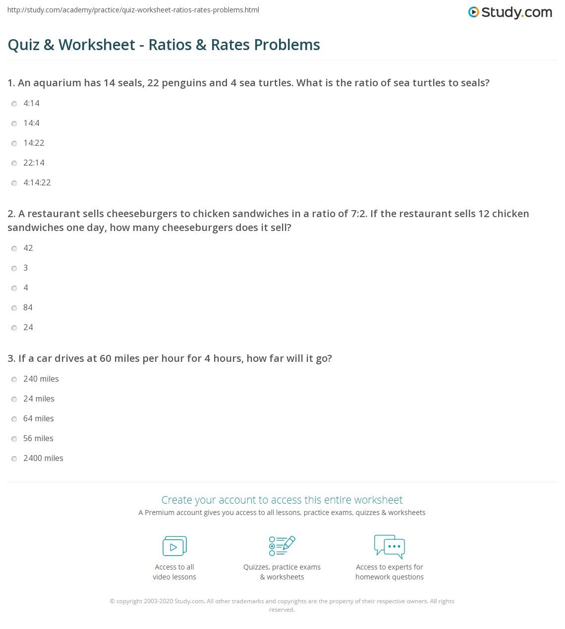 Writing Ratios Worksheet