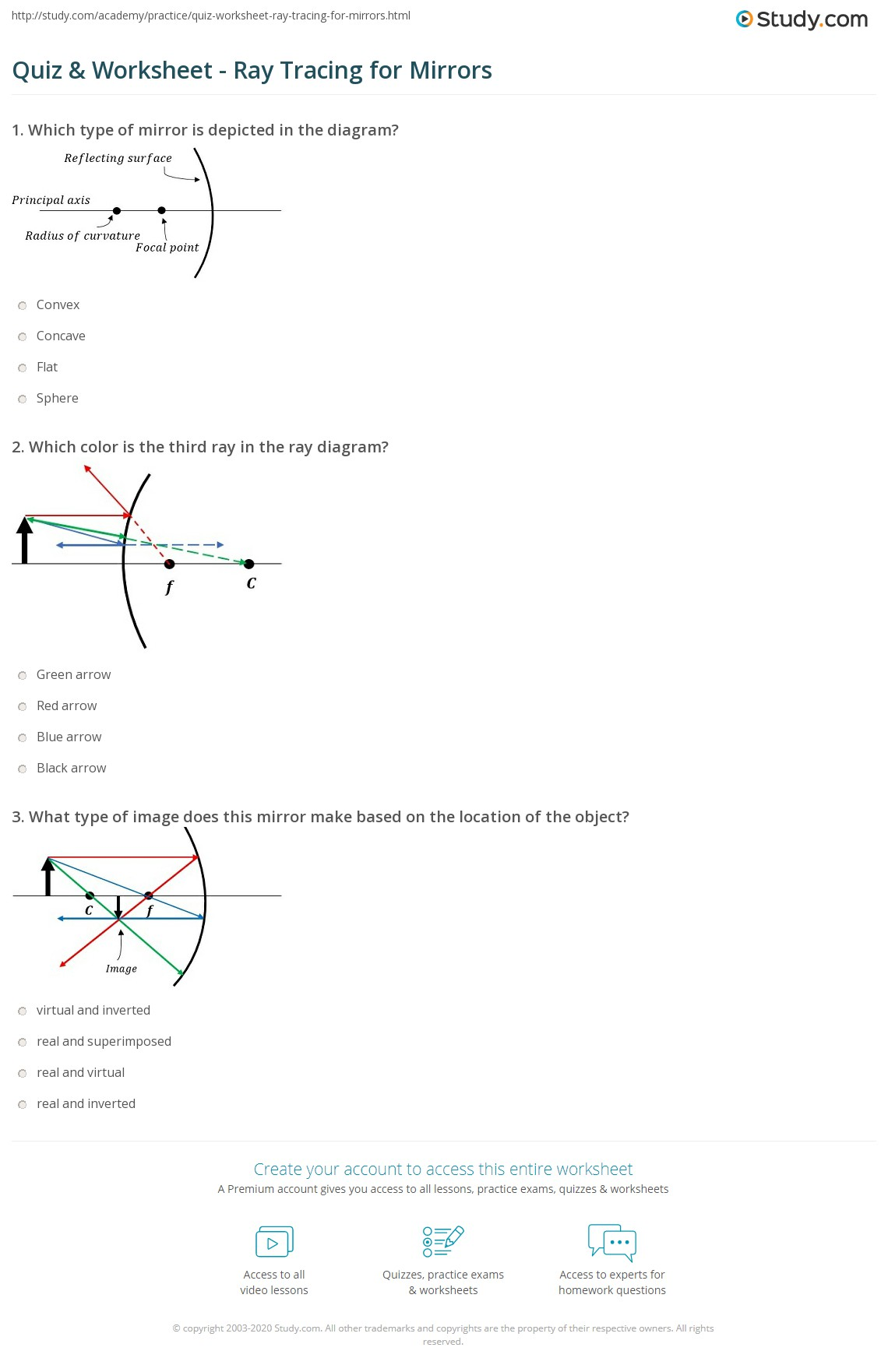 Mirror Ray Tracing Worksheet