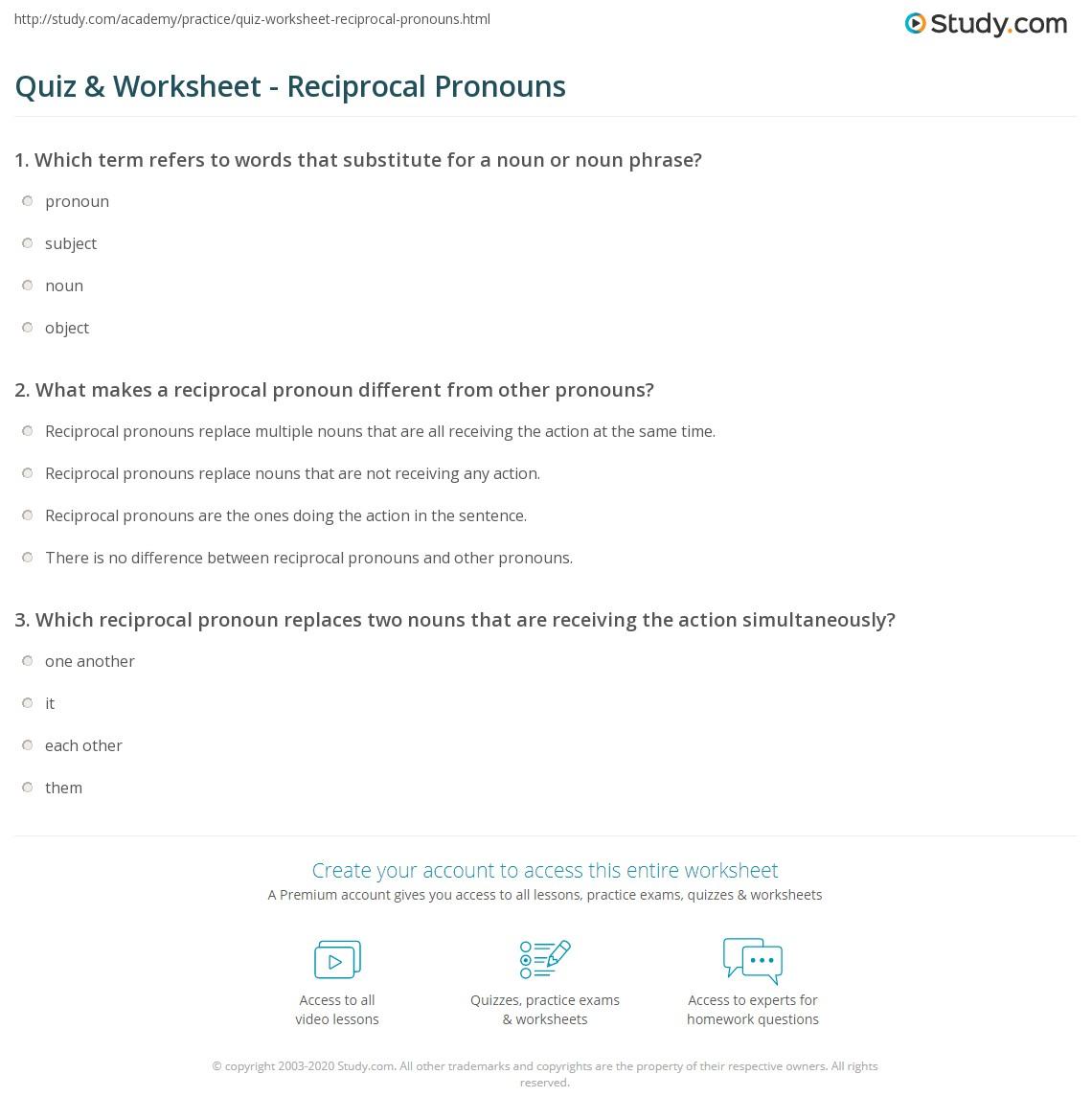 Reciprocal Pronouns Worksheet High School