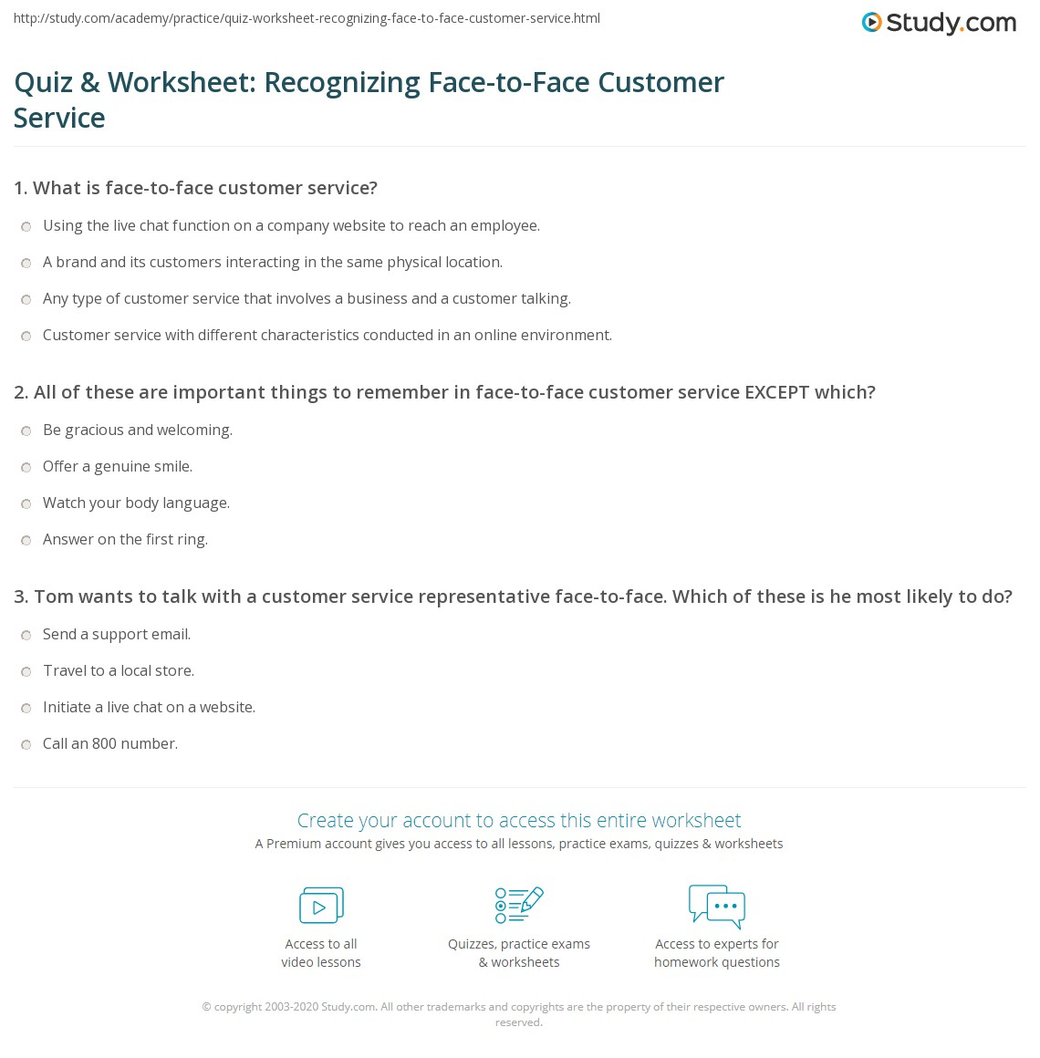 Quiz Amp Worksheet Recognizing Face To Face Customer Service