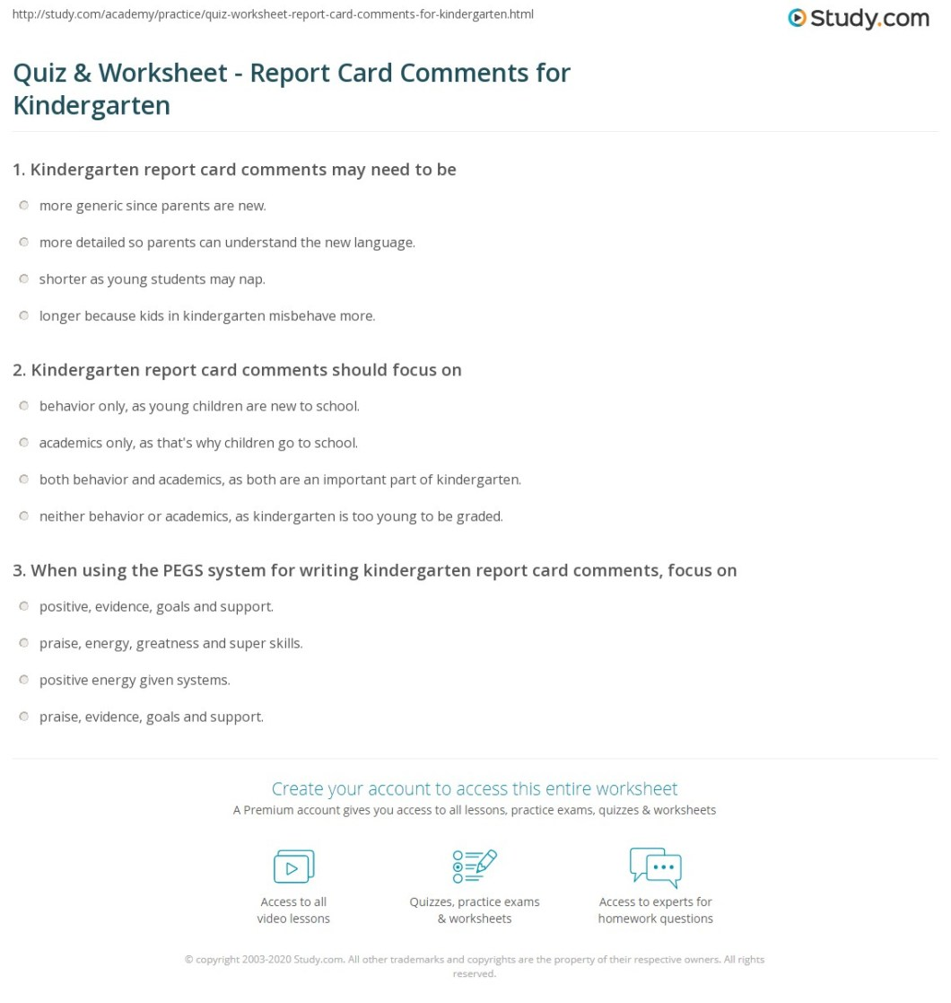 Quiz Worksheet Report Card Comments For Kindergarten Study Com