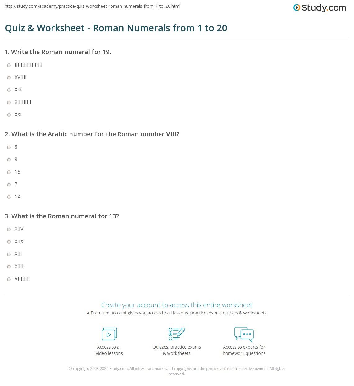 Roman Numerals Worksheet Year 5