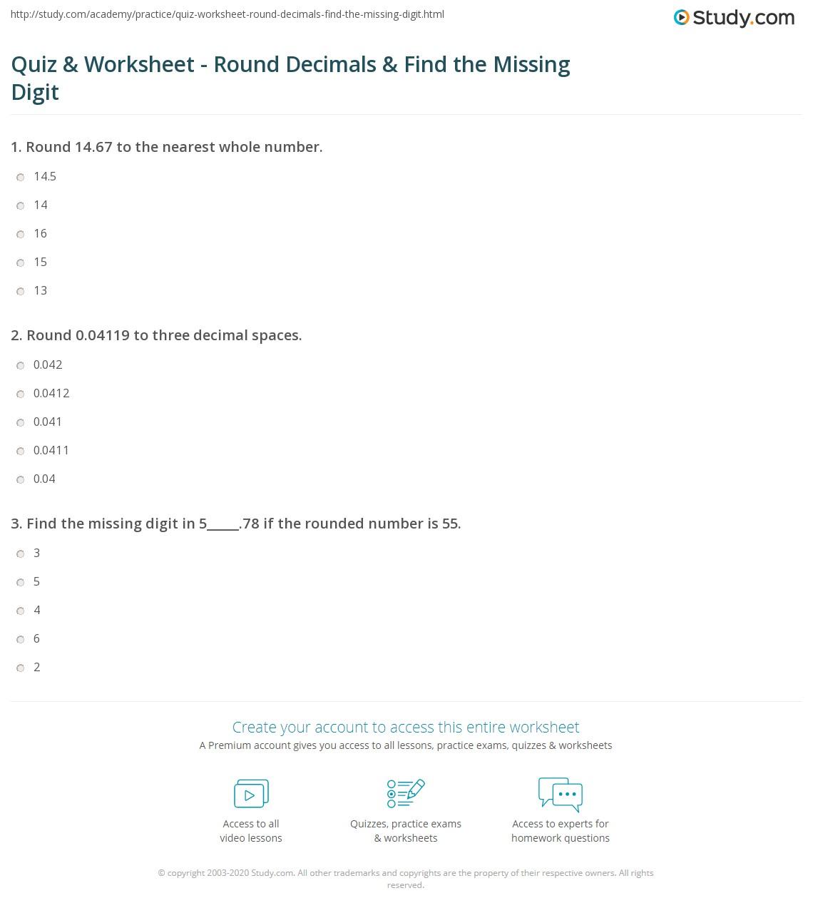 Quiz W Ksheet Round Decim Ls F D Miss G Digit Study