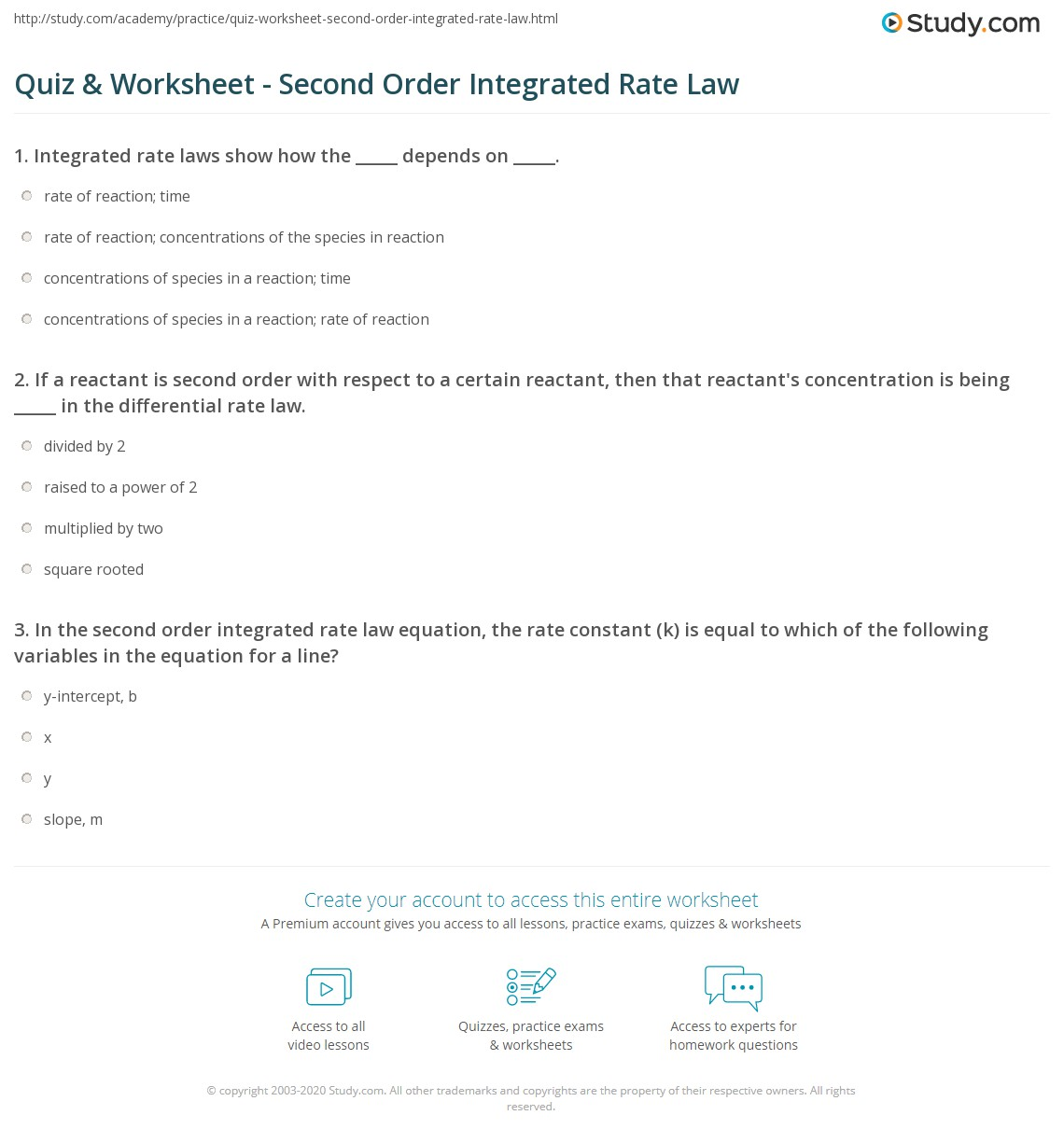 Worksheet Integrated Rate Laws Answers