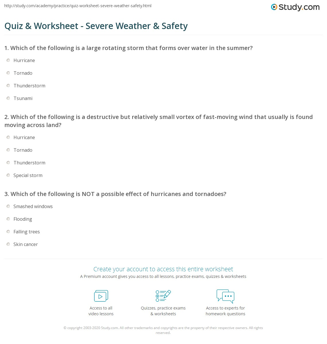 Saftey Worksheet 2nd Grade Weather